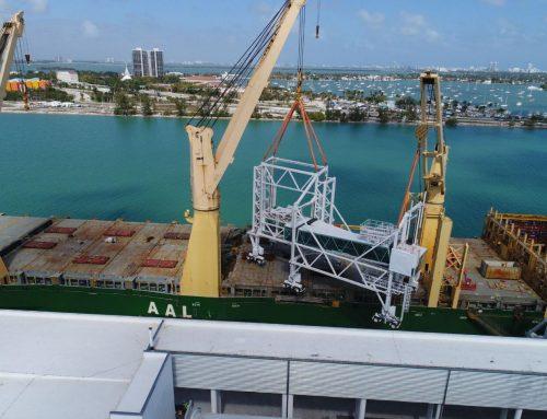 Miami passenger bridges transported by sea