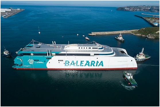 Baleària's LNG-powered fast ferry on trials